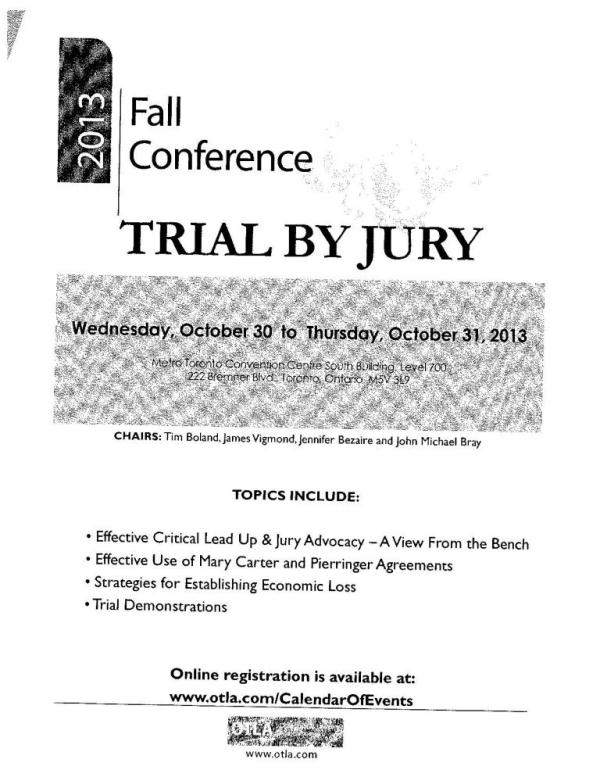 Flyer for Ontario Trial Lawyers Association Fall 2013 Conference